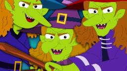 Flying Witches | Scary Nursery Rhymes For Kids And Childrens