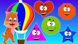 Cartoon Parachute | Shape Song |Teach Shapes To Kids