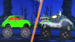 werewolf monster truck attacks | scary monster trucks for children