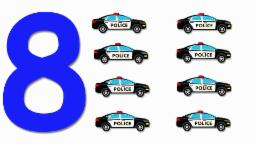 Police Cars Numbers | Learn numbers from 1 to 8