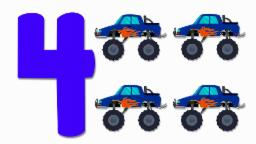 Monster Trucks Numbers | Learn numbers from 1 to 4 | Number Song