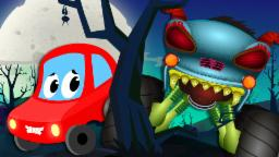 Little Red Car Rhymes - Little Red Car And The Haunted House Monster Truck | Scary Monster Truck