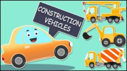 Broom teaches the vehicles | learn construction vehicles | cartoon car videos for kids