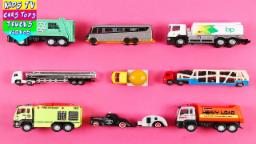 Learn Special Vehicles For Kids Children Babies Toddlers With Garbage Truck Oil Tank Dump Truck