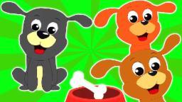 Cinco filhotes de cachorro pequeno que salta na cama | compilação para crianças | vídeo educativo