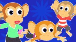 Cinco macaquinhos Salto na cama | Banda desenhada por crianças | vídeo educativo