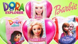 Barbie Dora  Surprise Hearts For Kids | Surprise Dora Characters | Disney Frozen Surprise Heart