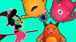 Five Little Monsters Rhyme | cinque piccoli mostri rima | bambini canzone spaventoso